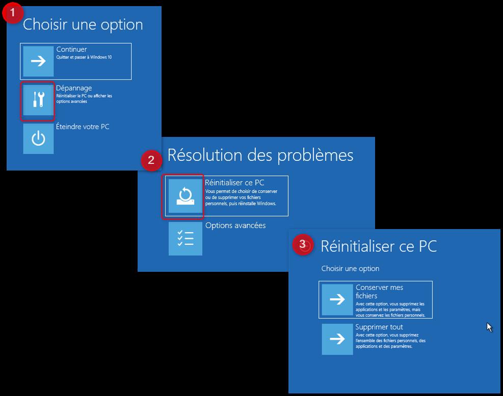Réinitialiser PC depuis le bureau Windows 10