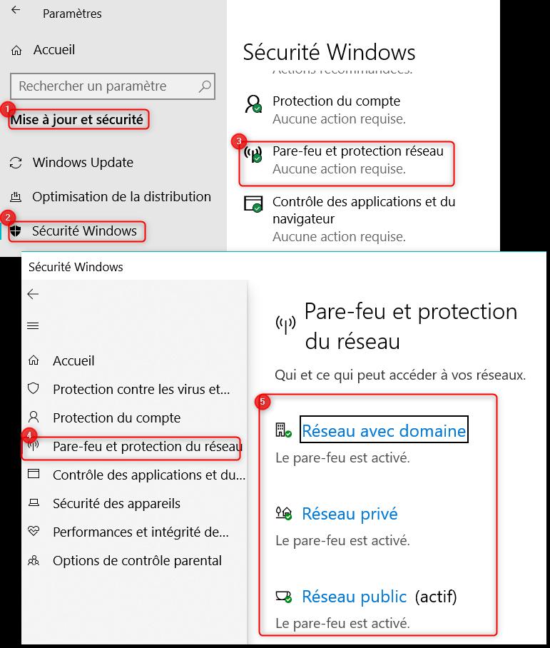 Désactiver les Pare-feu sur Windows 10