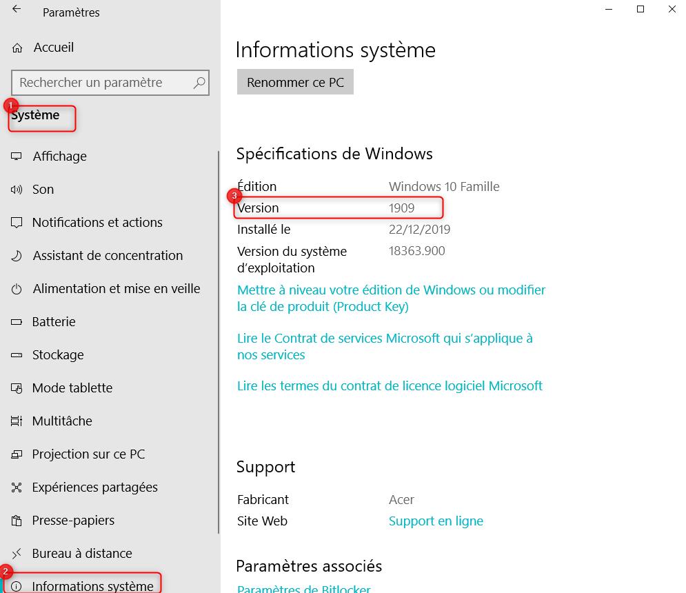 Paramètres Informations système Windows 10