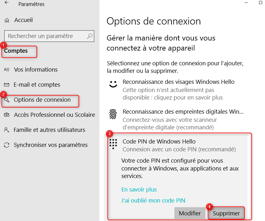 Supprimer le code PIN sur Windows 10