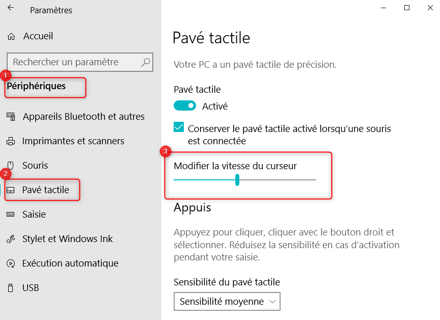 Modifier la vitesse du curseur du pavé tactile sur Windows 10