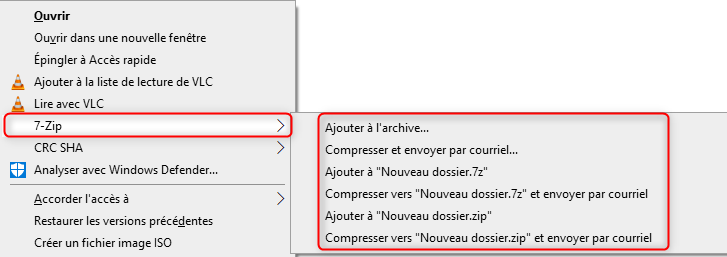 Menu contextuel avec 7-Zip sur Windows 10
