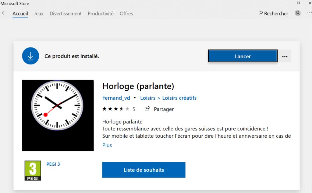 Télécharger horloge sur le Microsoft store sur Windows 10