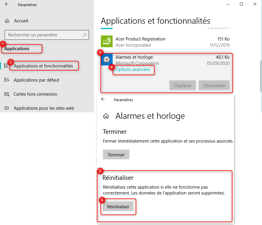 Réinitialiser une application Microsoft dans Windows 10