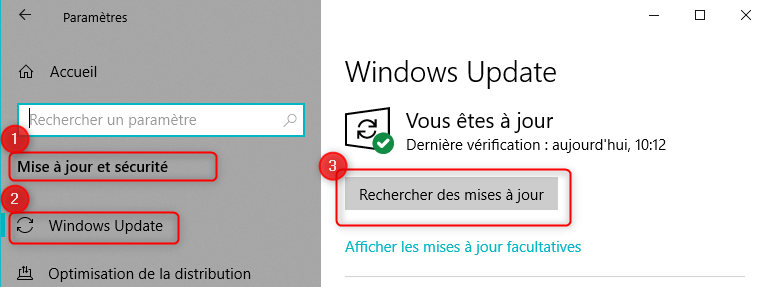 Mise à jour Windows Update sur Windows 10