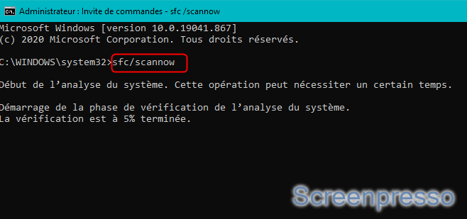 Commande sfc scannow sur Windows 10